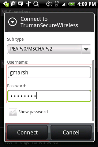 enter username and password then click connect